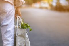 Young women use recyclable bags to shop for vegetables in the fresh market in the morning to reduce global warming