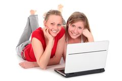 Young women using laptop Stock Photos