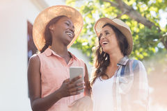 Young women using mobile phone. Happy young women using mobile phone Royalty Free Stock Photos