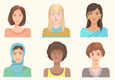 Young women of various nationalities. Girls of different ethnic and races. Various skin color, eyes and hairstyle. International portraits. Set of vector Stock Images