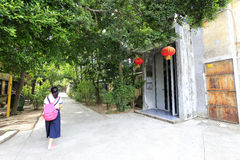 Young women visit redtory creative garden, guangzhou, china. Redtory creative garden is the predecessor of the food factory, mainly soviet-style buildings, the stock images