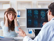 Young woman visiting radiologist for x-ray exam royalty free stock images