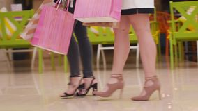 Young Women Walk With Purchases In The Mall. Stock Photo