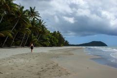 Young women walking on the beach in Cape Tribulation in Daintree National Park in the far tropical north of Queensland, Australia. Young women walking on the royalty free stock images