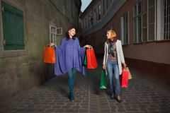 Girls with shoppings Royalty Free Stock Photos