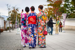 Free Young Women Wearing Traditional Japanese Kimonos Stock Images - 92706024