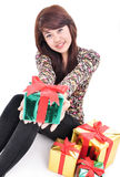 Young women will give gifts Royalty Free Stock Images