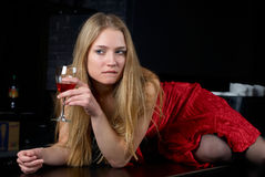 Young women with wine glass Royalty Free Stock Photography
