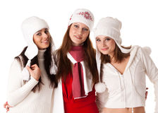Young  women in winter clothes. Royalty Free Stock Images