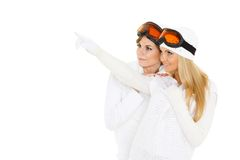 Young women  in winter warm clothes and ski glasses. Stock Images