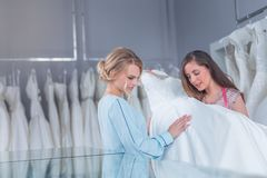 Young Women With A Wedding Dress Stock Image