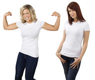 Young Women With Blank White Shirts Stock Images