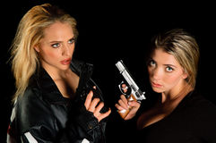 Young Women With Guns Stock Photo