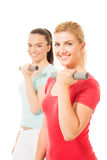 Young women working out with dumbbells Royalty Free Stock Image