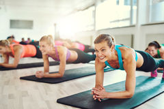 Young women working out together royalty free stock image