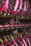 Young women working silk factory Royalty Free Stock Images
