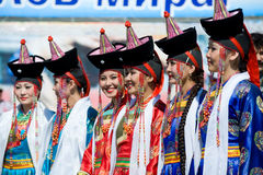 Young women at World Mongolians Convention Royalty Free Stock Images