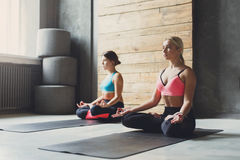 Young women in yoga class, relax meditation pose Stock Images