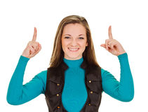 Young womman pointing finges up Stock Image