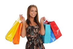 Young Womnan holding shopping bags Royalty Free Stock Image