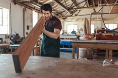 Young woodworker examining a plank of wood in his workshop Royalty Free Stock Images