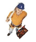 Young worker. Young constructor worker with spirit level and toolbox isolated on white Stock Photos