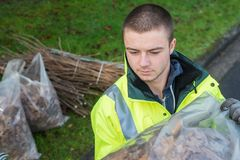 Young worker with bag dead leaves Stock Image