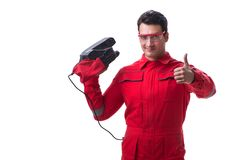 Young worker with belt sander sanding power tool isolated on whi. Te Royalty Free Stock Photography
