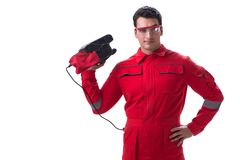 Young worker with belt sander sanding power tool isolated on whi. Te Royalty Free Stock Image