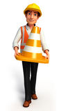 Young Worker with cones Stock Photography