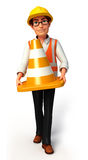 Young Worker with cones Royalty Free Stock Photo