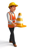 Young Worker with cones Stock Photos