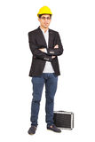 Young worker with a diplomat Royalty Free Stock Images
