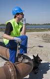 Young worker and dog Royalty Free Stock Image