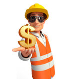 Young worker with dollar sign Stock Photo