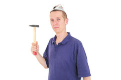 Young worker with hammer Royalty Free Stock Photography