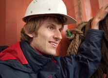 Young worker in hard hat Royalty Free Stock Image