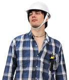 Young worker isolated with wire-cutters in pocket Royalty Free Stock Photos