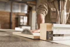 Young worker in joinery Stock Images