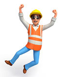 Young Worker with jumping Royalty Free Stock Photography