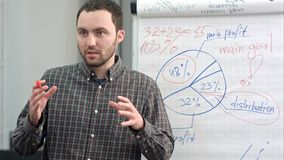 Young worker making business presentation using flipchart. Close up shot. Professional shot on BMCC RAW with high dynamic range. You can use it e.g. in your Stock Image