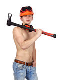 Young worker man with ax Stock Photo
