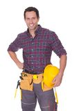 Young worker man with hard hat Royalty Free Stock Images