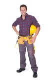 Young worker man with hard hat Royalty Free Stock Image