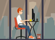 Young worker near the computer a  illustration Stock Images