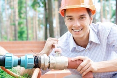 Young worker outdoors Stock Images