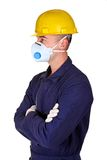 Young worker with protecnion clothes. Background Royalty Free Stock Photo