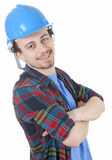 Young worker in protective hardhat Royalty Free Stock Image