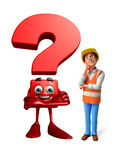 Young worker with question mark Stock Photos