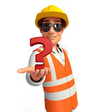 Young worker with question mark Stock Photo